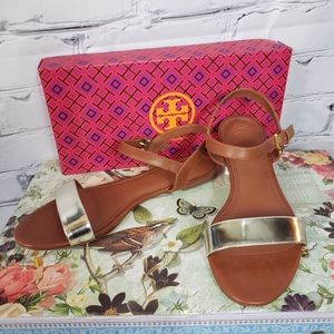 Tory Burch Brown and Gold Two Tone Leather Sandals